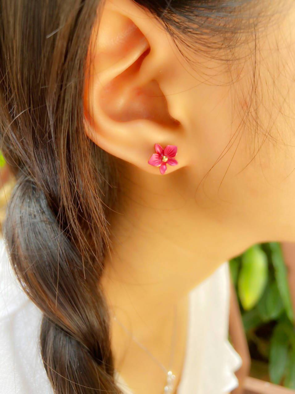 Dendrobium Rose Pink- Petite Orchid Stud Earrings in Rose Gold Plating - Local Jewellery - Forest Jewelry - Naiise