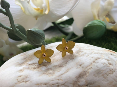 Dendrobium Sunny Yellow- Petite Orchid Stud Earrings in Rose Gold Plating - Local Jewellery - Forest Jewelry - Naiise