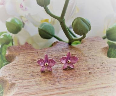 Dendrobium Violet Purple- Petite Orchid Stud Earrings in Rose Gold Plating - Local Jewellery - Forest Jewelry - Naiise