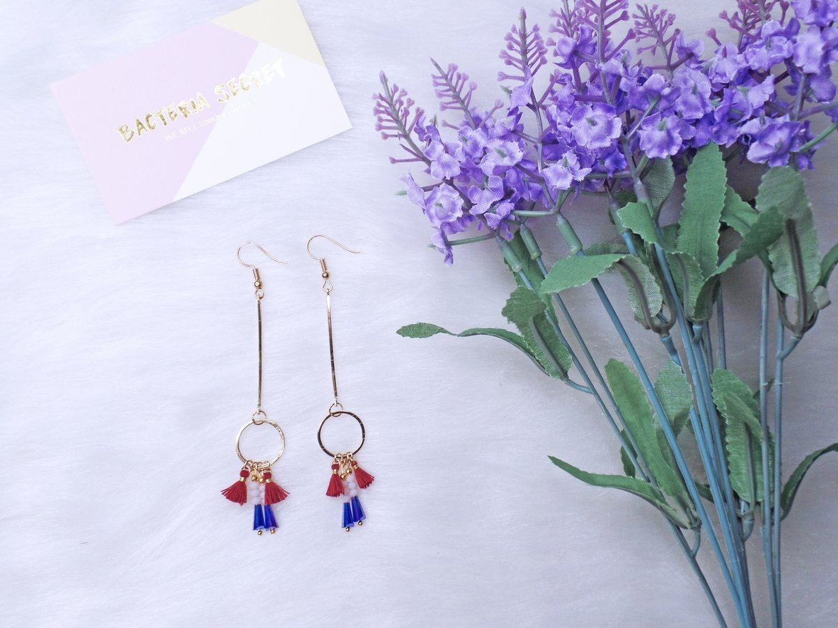 Deona Bohemian Red Tassel Long Earrings - Earrings - Bacteria Secret - Naiise
