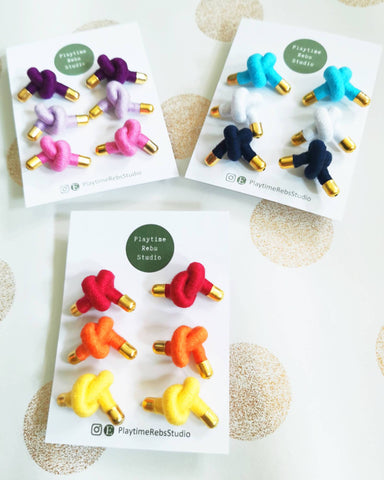Knotty Rope Stud Earrings Pack of 3 - Choice of colors - Earrings - Playtime Rebs Studio - Naiise