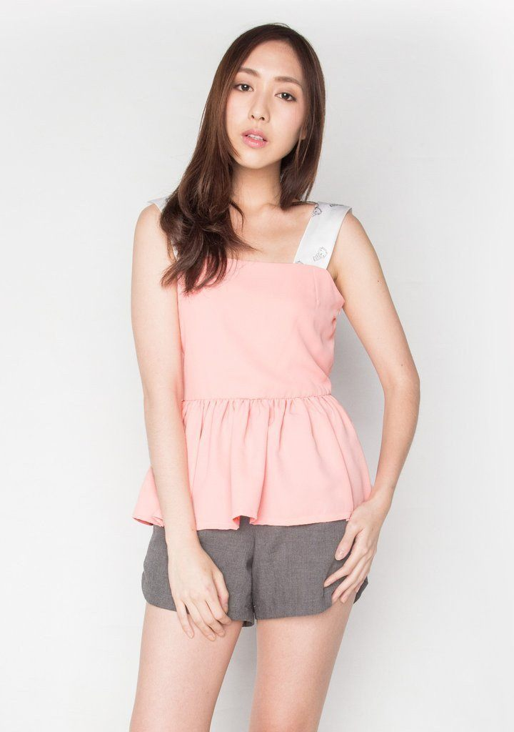DIGITAL PRINTED STRAP PEPLUM TOP IN BLUSH (TOP 1) - Women's Tops - Salient Label - Naiise