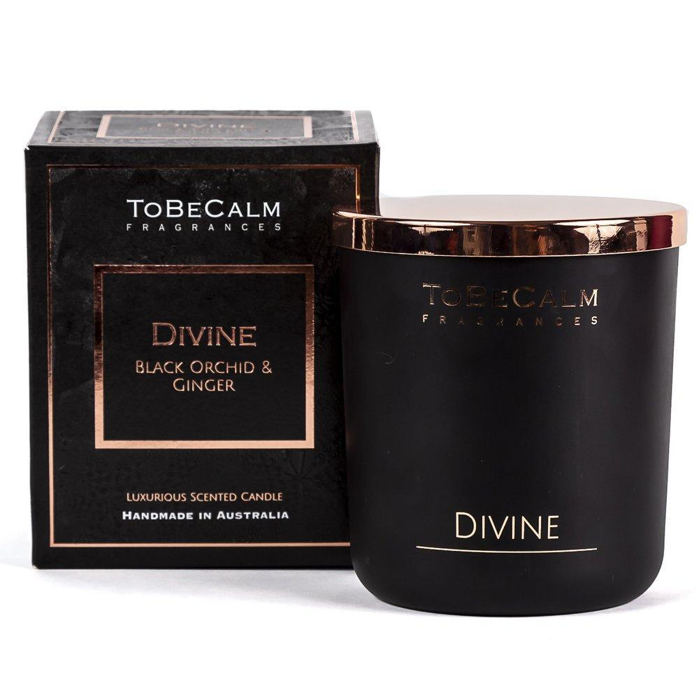 Divine- Black Orchid & Ginger - Deluxe XL Soy Candle To Be Calm