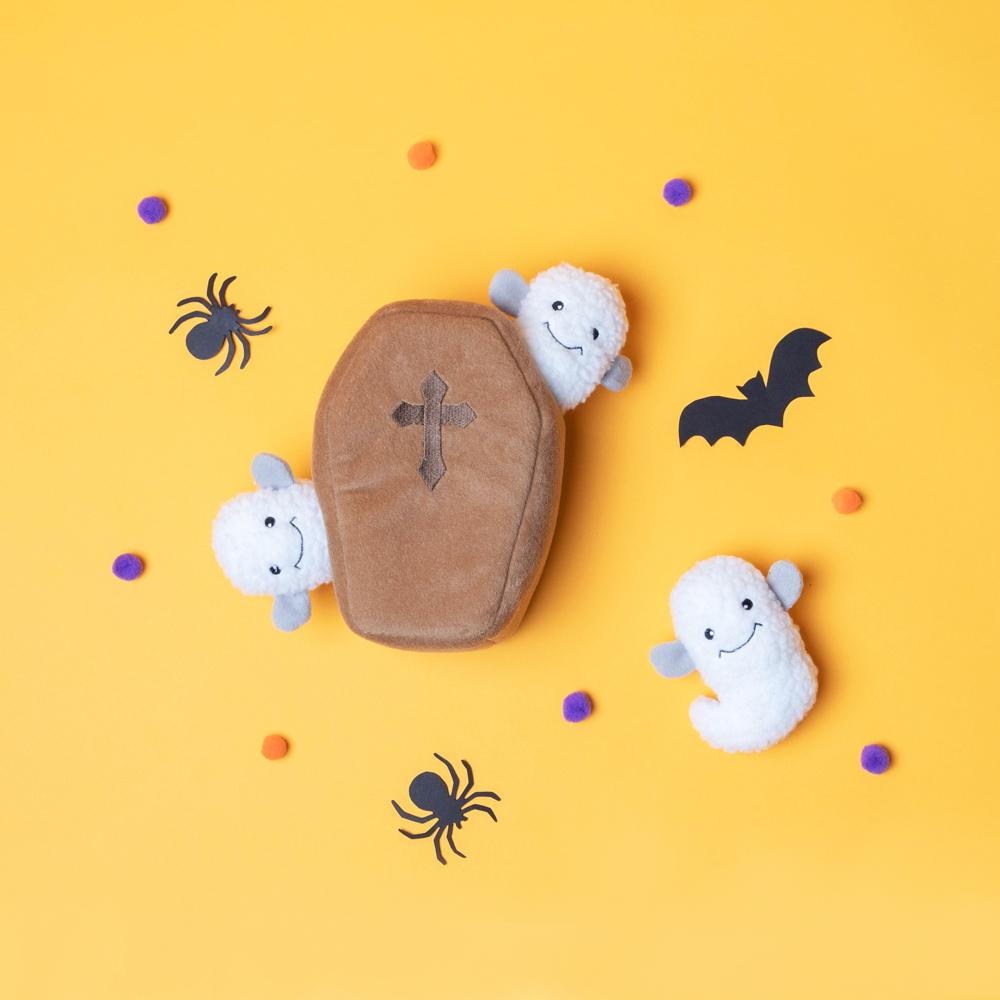 Dog Burrow Halloween - Coffin with Ghost Pet Toys Zippypaws