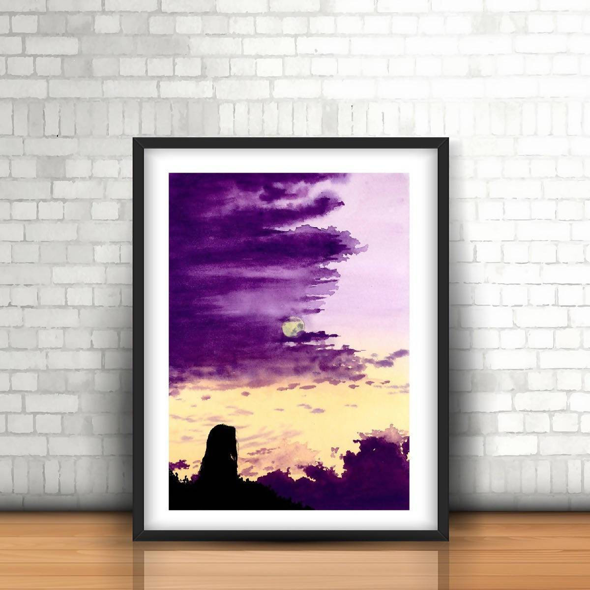 Purple Sunset with a Girl Watercolor Art Print - Art - Sketchyo - Naiise