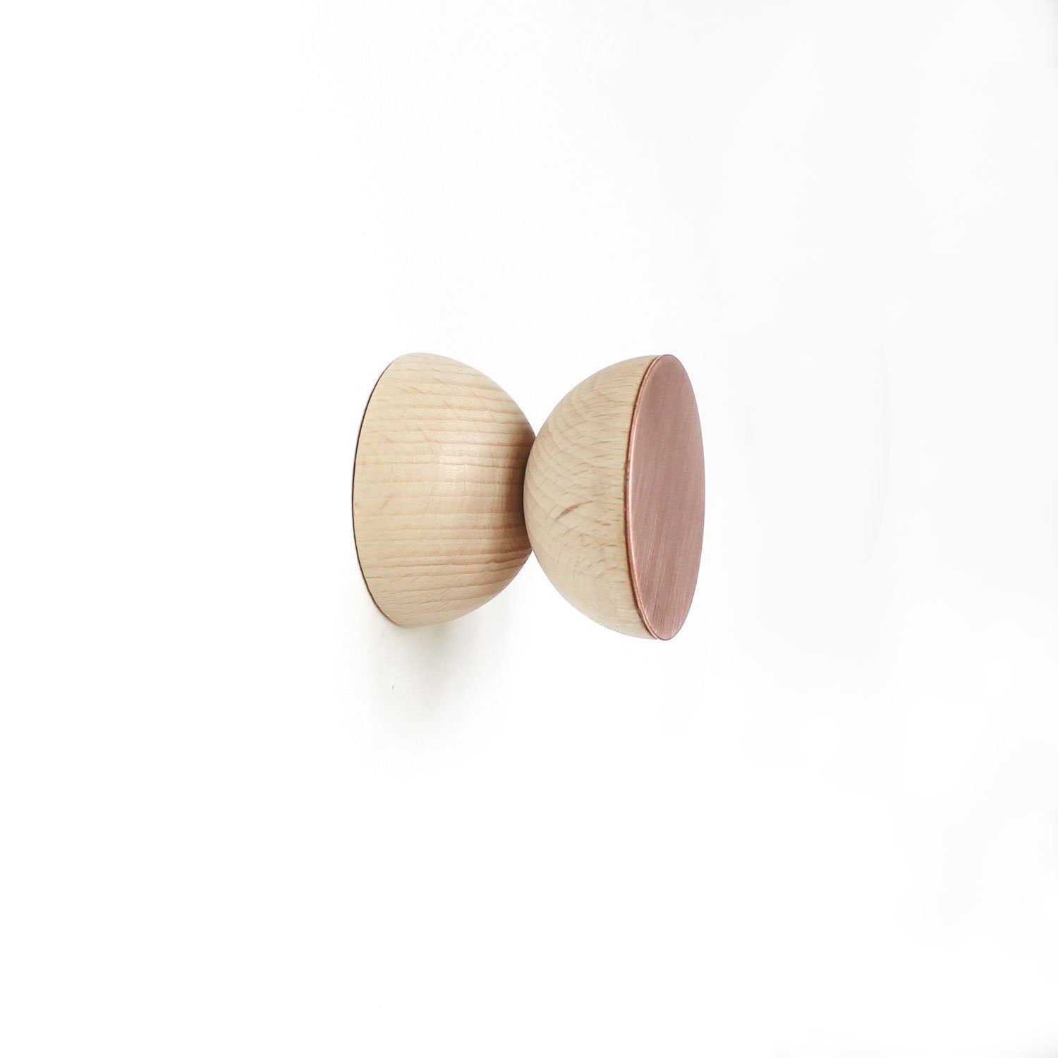 Double Round Beech Wood & Copper Wall Hook - Hooks - 5mm Paper - Naiise