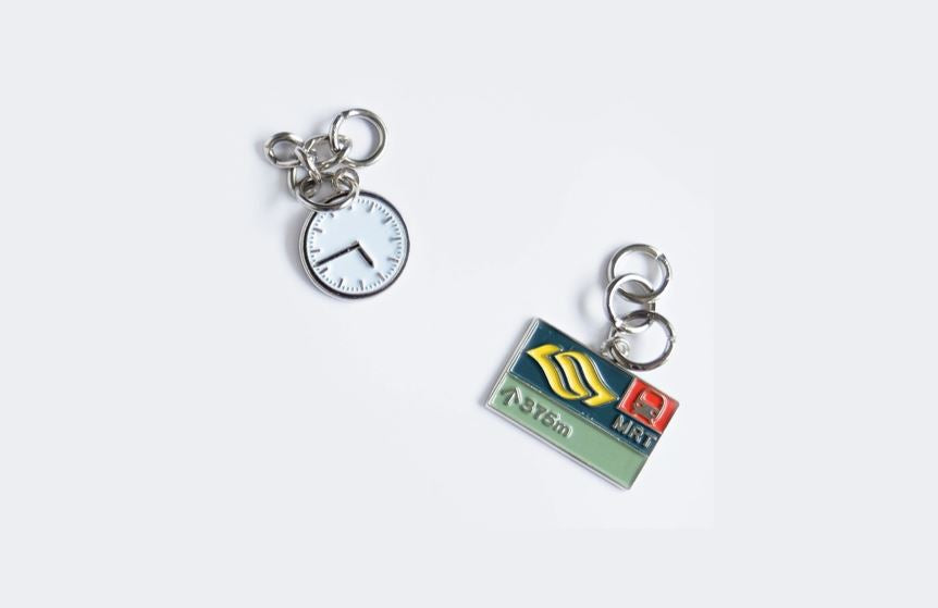 Downtown Line Charms Local Keychains Knackstop MRT Sign + Clock
