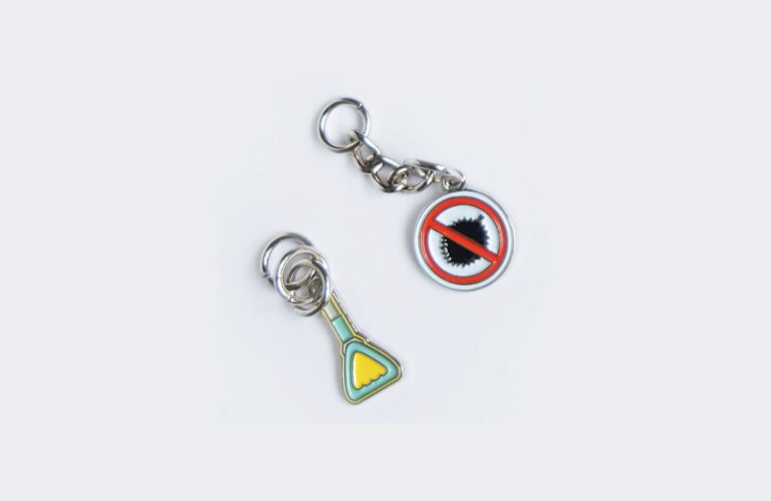 Downtown Line Charms Local Keychains Knackstop No Durian Sign + Handrail
