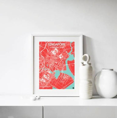 Downtown Map - Red - Local Prints - URBAN X MAPS - Naiise