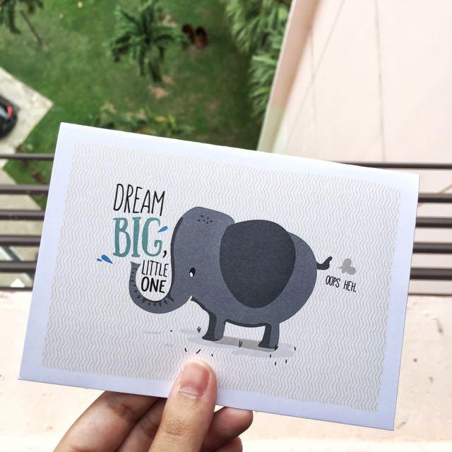 Dream Big Little Elephant Card Dough You Know Greeting Card TispyTopsy