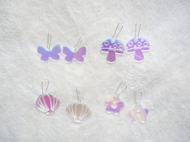Holo Shell, Flower, Butterfly, Mushroom Earrings - Earrings - Loopy Fruppy - Naiise