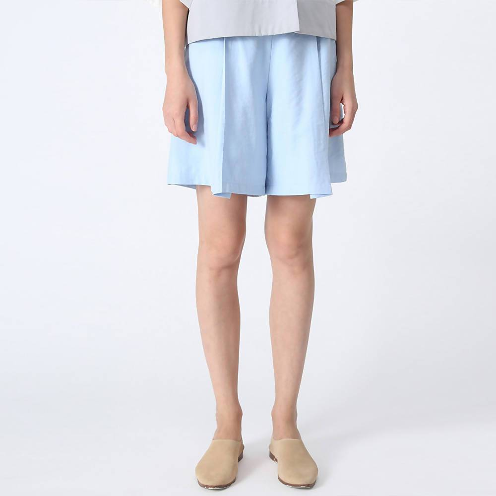 Castro Pleated Shorts in Sapphire Blue Women's Shorts Salient Label