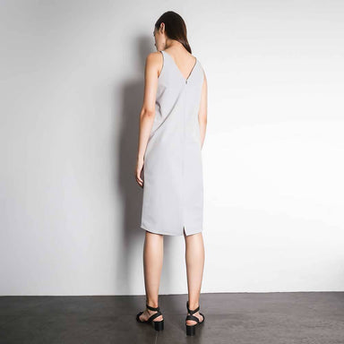 Eden Asymmetric Strap Straight Dress in Vaporous Grey - Dresses - Salient Label - Naiise