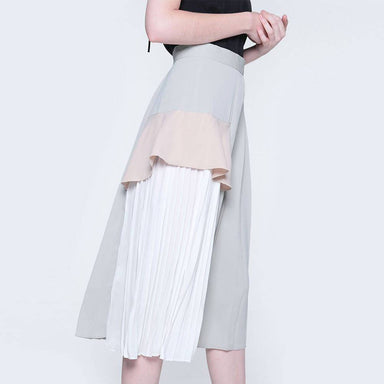 Elkin Pleated Colourblock Skirt in Hush - Skirts - Salient Label - Naiise