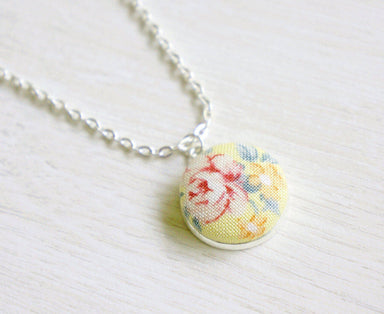 Ellery Rose Handmade Fabric Button Necklace - Necklaces - Paperdaise Accessories - Naiise