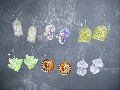 Enchanted collection - mushroom, fern, sun moon earrings - New Arrivals - Loopy Fruppy - Naiise