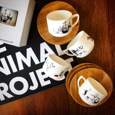 Espresso Cup Set+ Cups The Animal Project Dogs with Red Collars