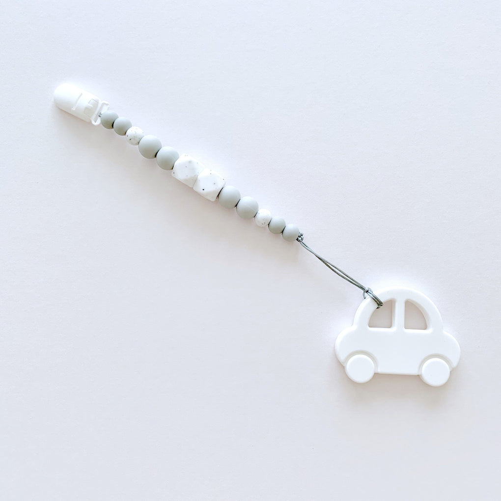 Essential Teether Strap with Car - Speckled White Grey - Teethers - Wildberry Store - Naiise