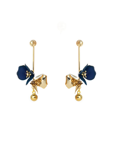 Gold Plated Dangling Flora Earrings Earrings Forest Jewelry Royal Blue