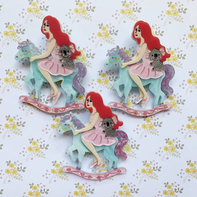 My Cantering Bliss (Pink Hair Beauty) Brooch - Brooches - She Loves Blooms - Naiise