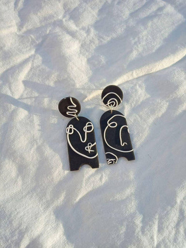 Facial Recognition in Black - Earrings - Minimal Clay - Naiise