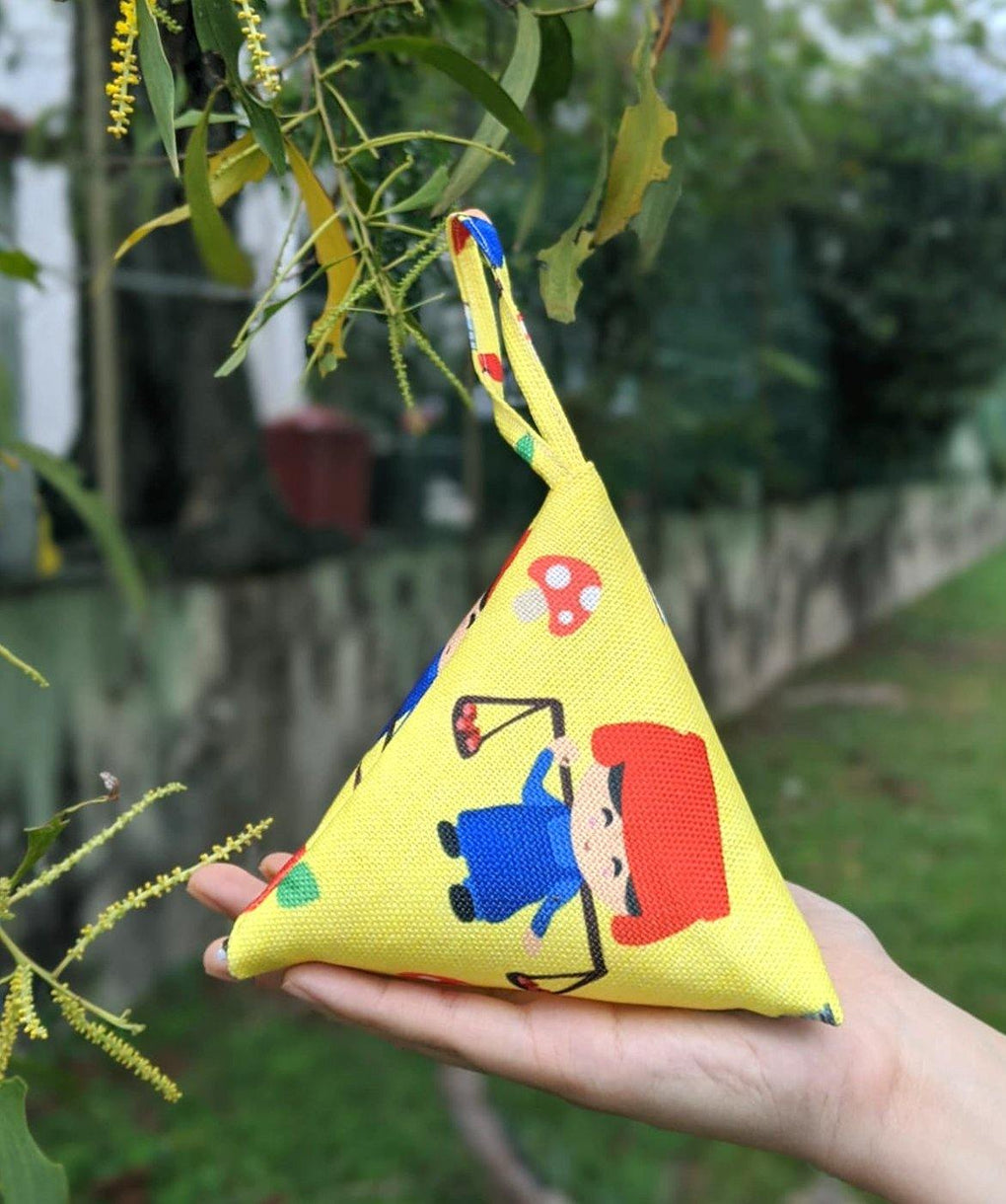 Five Stones Pouch Childhood Series Local Pouches sawxnaiise Samsui Woman (Yellow)
