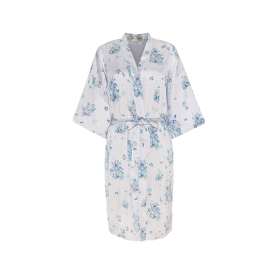 Floating Forget-Me-Nots Kimono Robe (Midi) - Sleepwear for Women - The Mariposa Collection - Naiise