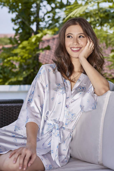 Floating Forget-Me-Nots Kimono Robe (Short) - Sleepwear for Women - The Mariposa Collection - Naiise