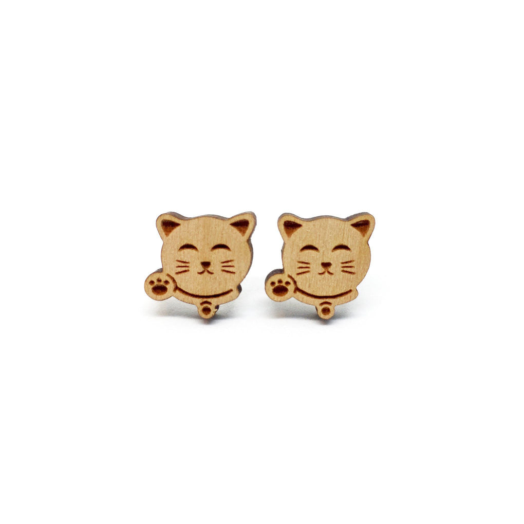 Fortune Cat Zhao Cai Mao Laser Cut Wood Earrings Earrings Paperdaise Accessories