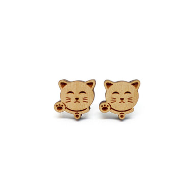 Fortune Cat Zhao Cai Mao Laser Cut Wood Earrings - Earrings - Paperdaise Accessories - Naiise