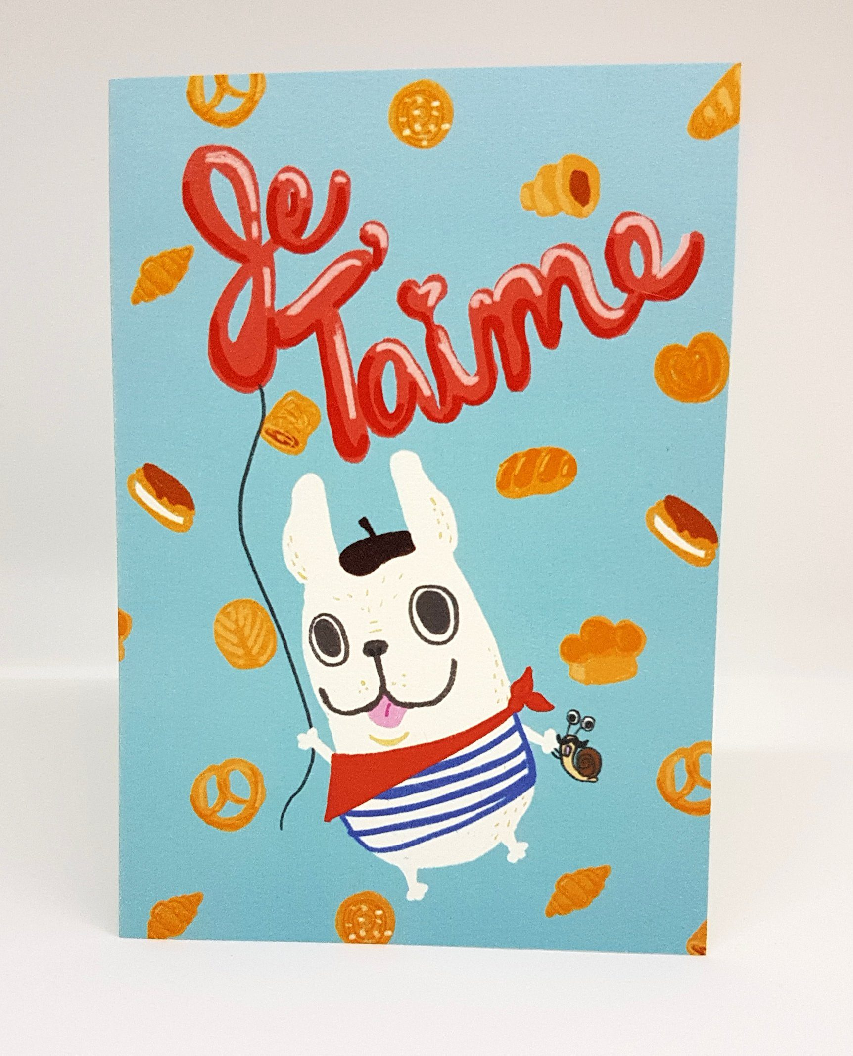 French Bully – Je T'aime Love Cards Steak & Eggs Please