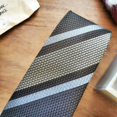 Necktie Wide Stripe in Mocha Brown with Vanilla Beige | 8cm - Ties - Tuesday Evening - Naiise