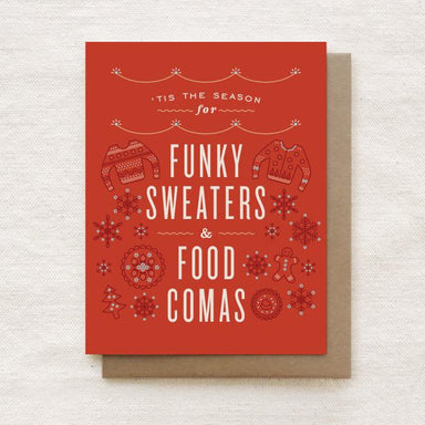 Funky Sweaters and Food Comas - Happy Holidays, Christmas Greeting Card Christmas Cards Quirky Paper Co.