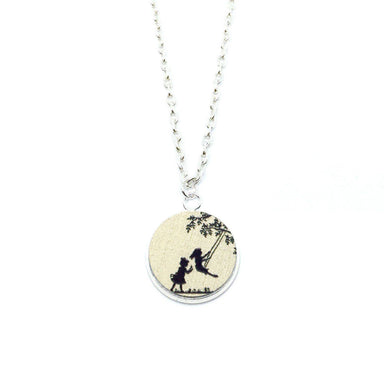 Girls Playing On Swing Wood Pendant Necklace - Necklaces - Paperdaise Accessories - Naiise