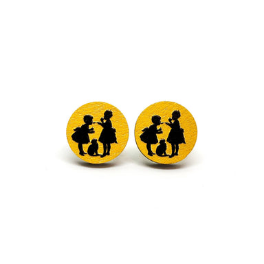 Girls Playing With Cat Wooden Earrings - Earrings - Paperdaise Accessories - Naiise