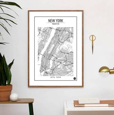 Global Series - New York Map Maps URBAN X MAPS Framed