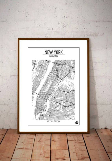 Global Series - New York Map Maps URBAN X MAPS Unframed