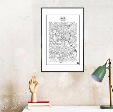 Global Series - Paris Map Maps URBAN X MAPS Framed