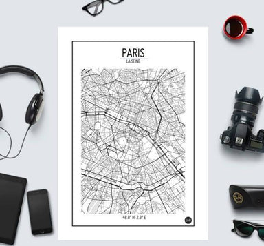 Global Series - Paris Map Maps URBAN X MAPS Unframed