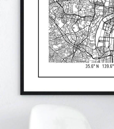Global Series - Tokyo Map Maps URBAN X MAPS Framed