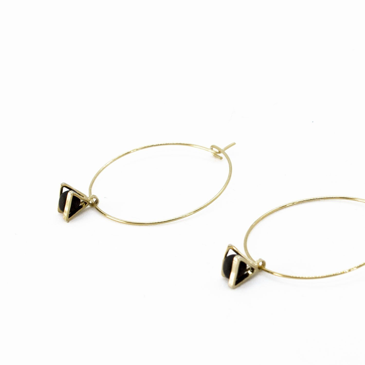Gold Hoop Earrings - Tiny Triangle Charm - Earrings - 5mm Paper - Naiise
