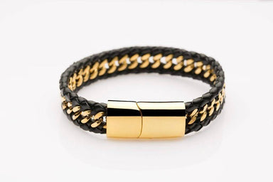 Gold-laced Black Leather - JEM-315003-BLK Men's Bracelets J By Jee