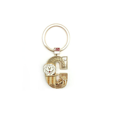 Gold Merlion Alphabet Keychain - C Local Keychains Guardian Angel