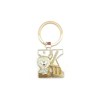 Gold Merlion Alphabet Keychain - K Local Keychains Guardian Angel