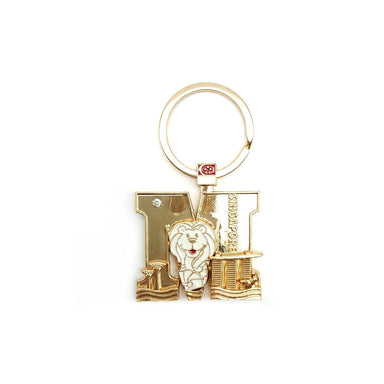 Gold Merlion Alphabet Keychain - M Local Keychains Guardian Angel