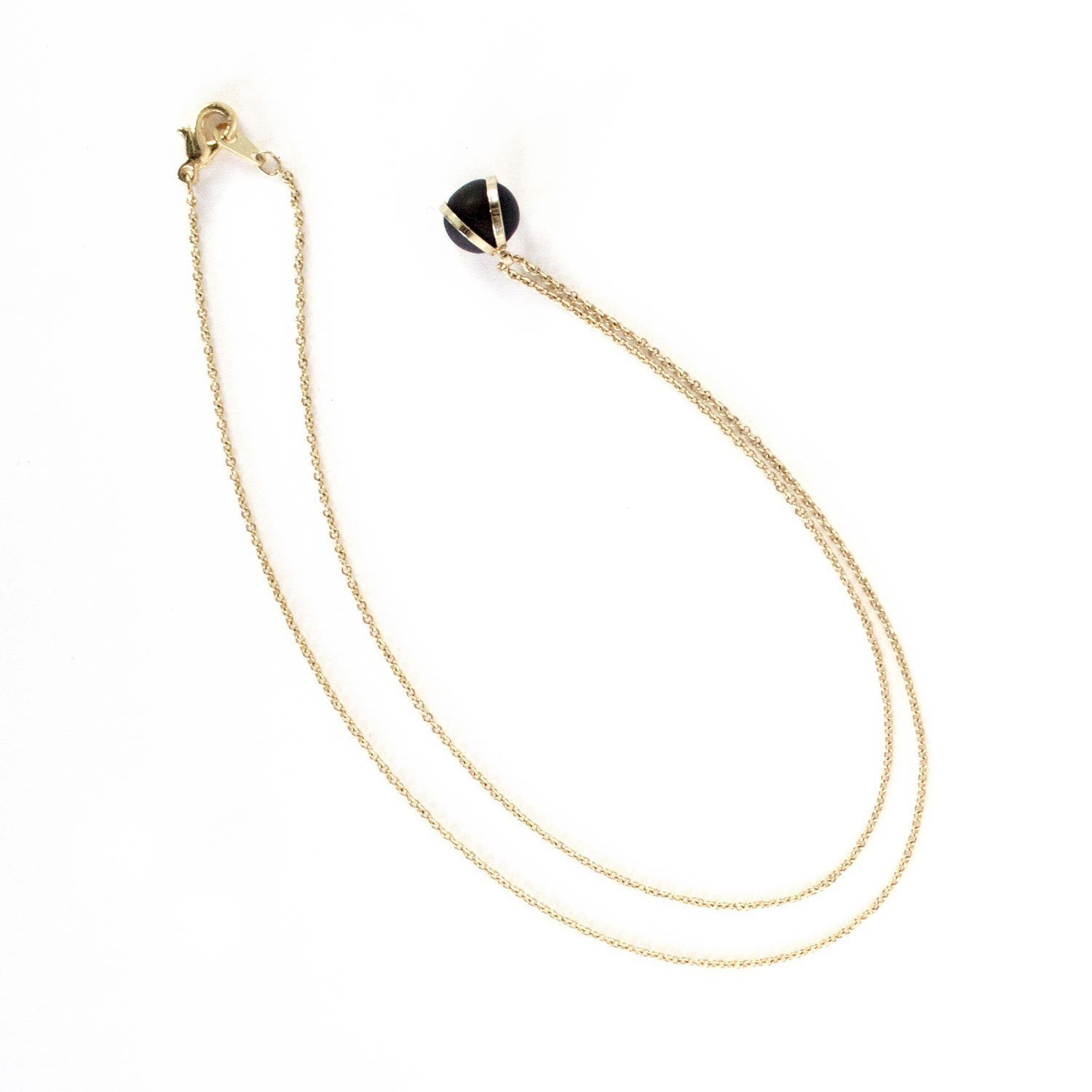 Gold Necklace - Black Ball Charm - Necklaces - 5mm Paper - Naiise
