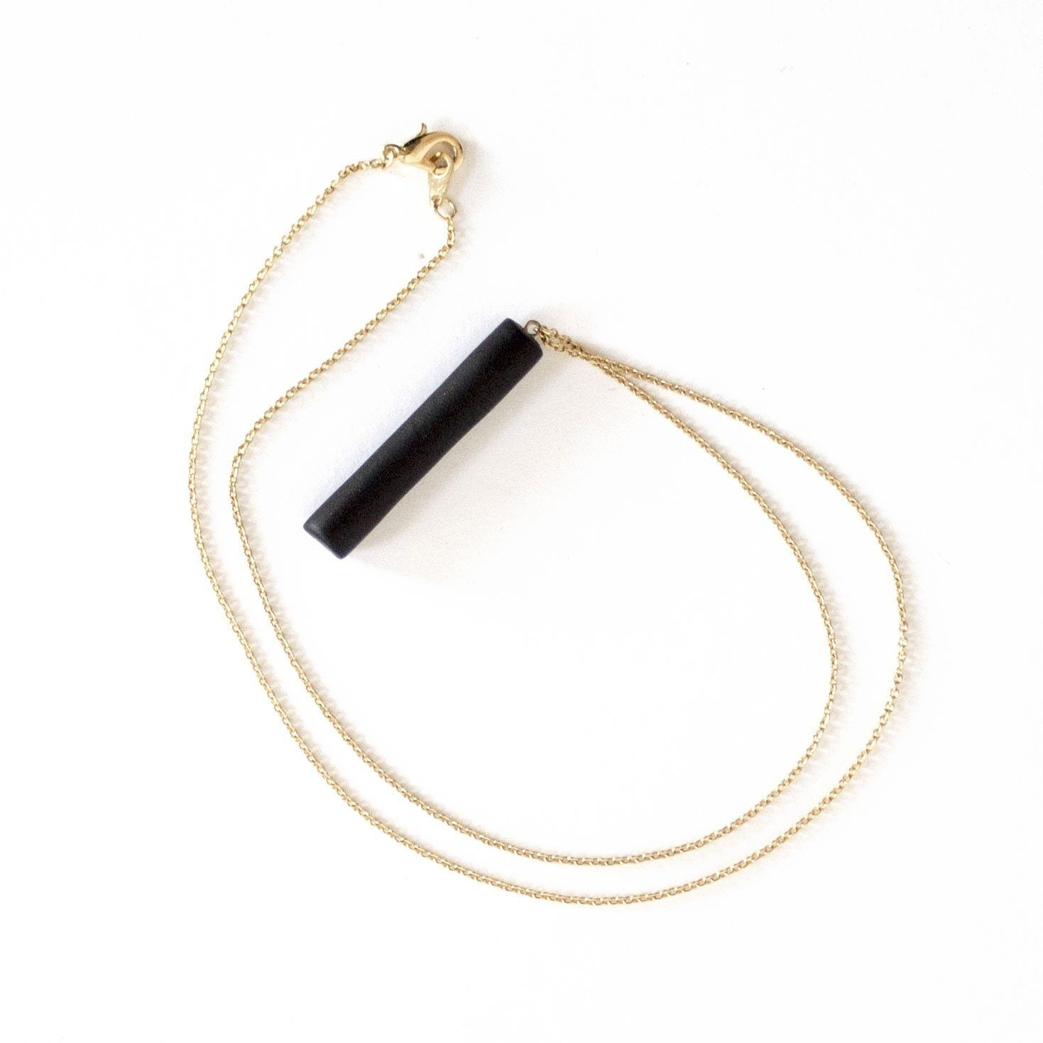 Gold Necklace - Black Bar Pendant - Necklaces - 5mm Paper - Naiise
