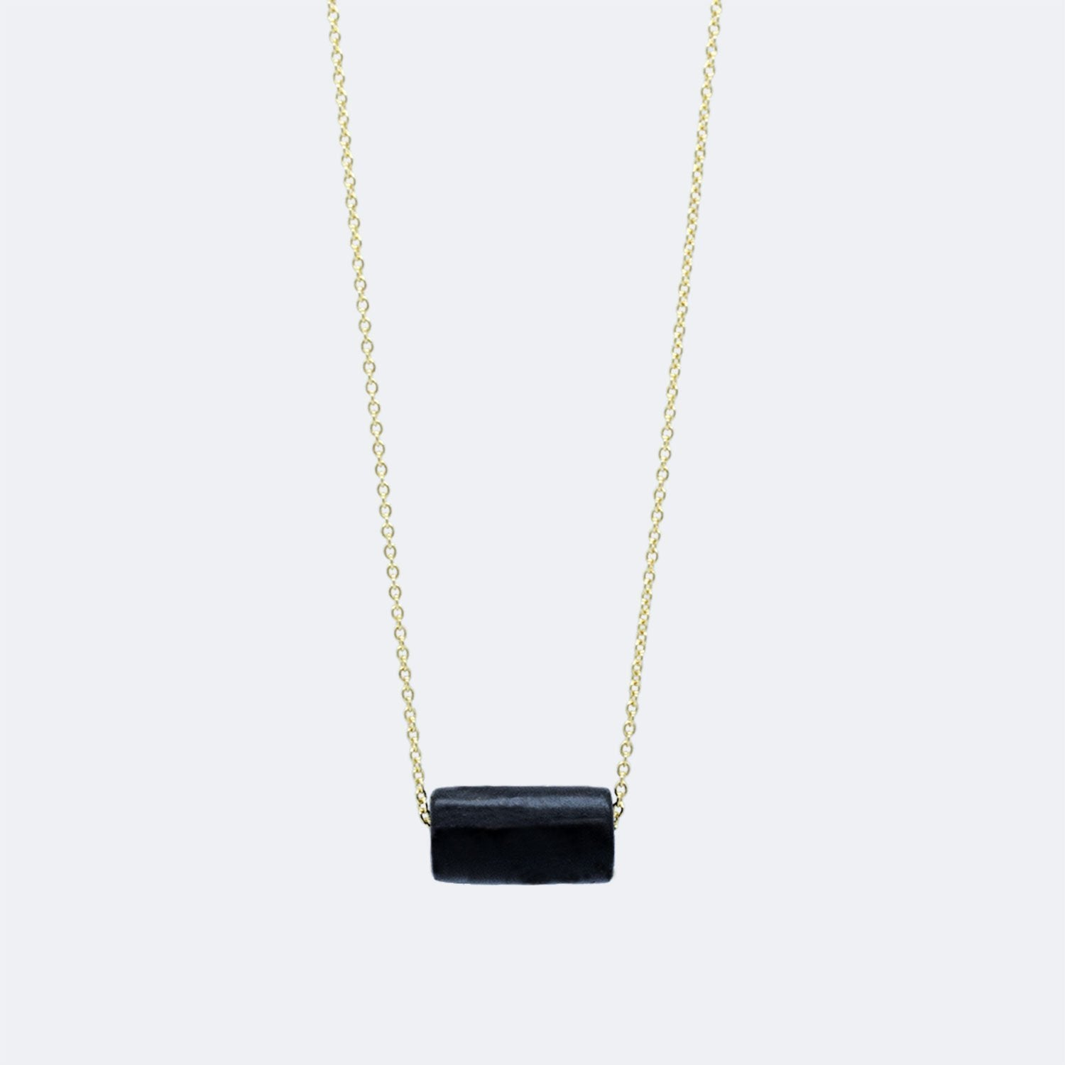 Gold Necklace - Black Bead - Necklaces - 5mm Paper - Naiise