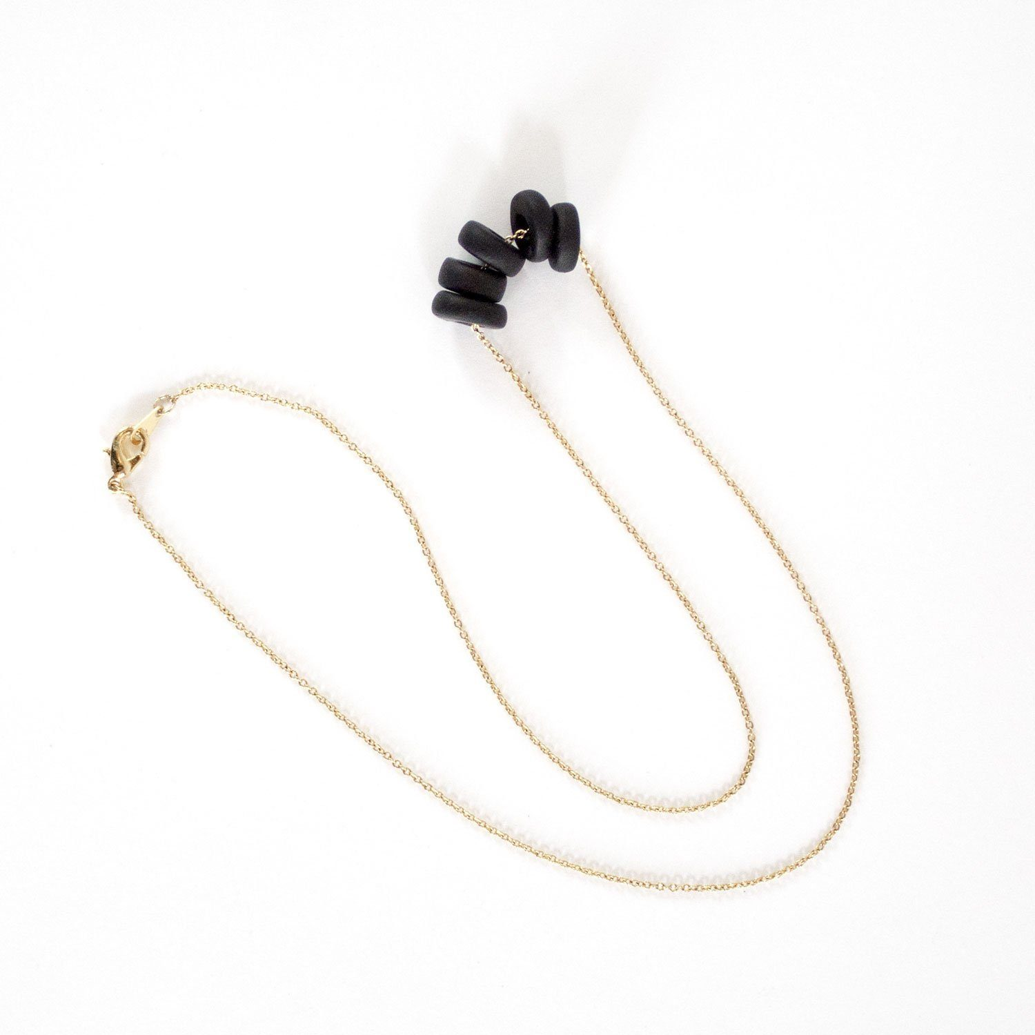 Gold Necklace - Black Disk Beads - Necklaces - 5mm Paper - Naiise