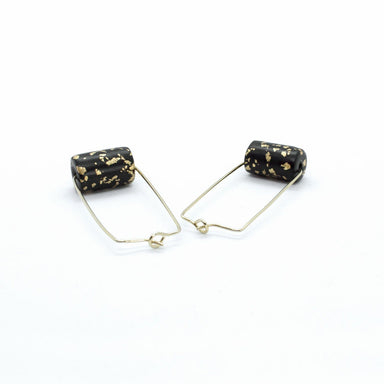 Gold Rectangle Earrings - Black & Specks Bead - Earrings - 5mm Paper - Naiise